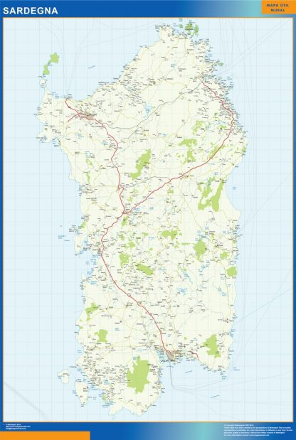 Mapa región Sardegna enmarcado plastificado