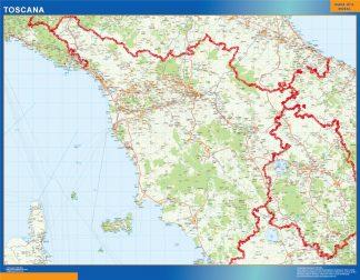 Mapa región Toscana enmarcado plastificado