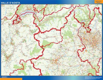 Mapa región Valle Aosta enmarcado plastificado
