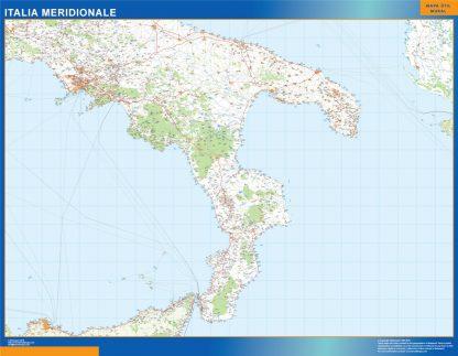 Mapa sur Italia carreteras enmarcado plastificado