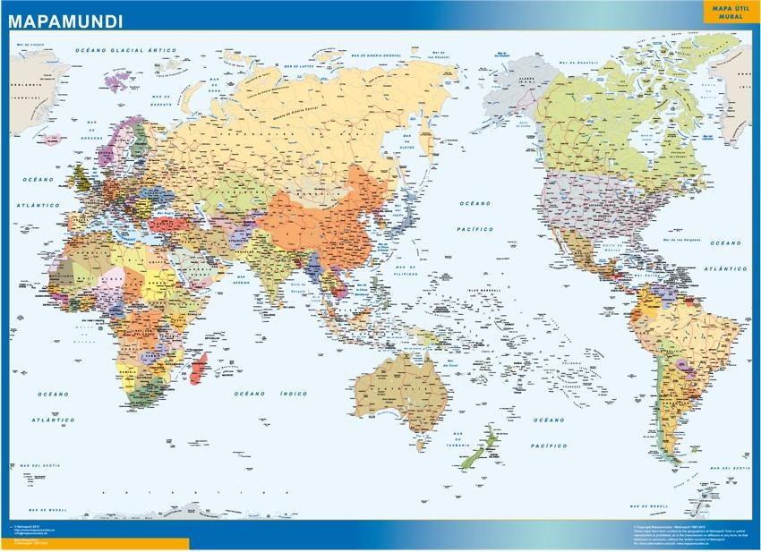 Mapamundi Pacifico Magnético Enmarcado Para Imanes Grande
