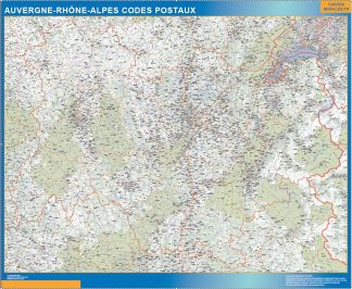 Región Auvergne-Rhone-Alpes codigos postales enmarcado plastificado