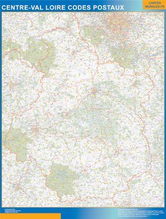 Región Centre Val Loire codigos postales enmarcado plastificado