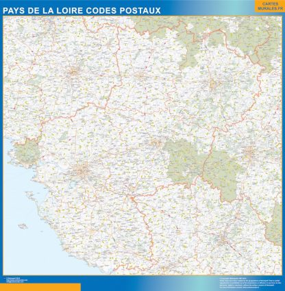 Región Pays de la Loire codigos postales enmarcado plastificado