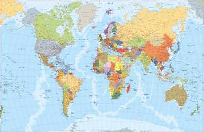 Mapamundi plastificado en inglés